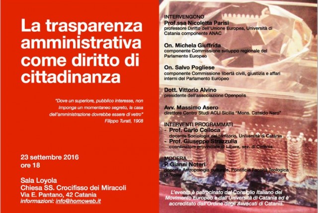 La trasparenza amministrativa come diritto di cittadinanza: a Catania un importante convegno sul tema, venerdi 23 settembre